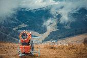 Beautiful autumn landscape in mountains Karpaty in ski resort