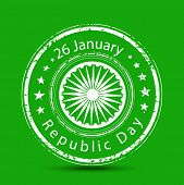 Grungy rubber stamp with Ashoka Wheel and text on green background for Indian Republic day celebrations.