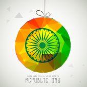 Shiny colorful hanging ball with Ashoka Wheel on grey background for Happy Indian Republic Day celebrations.