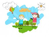 Cute kids flying national tricolor kite and celebrating Happy Indian Republic Day on nature background.