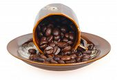 ?offee Beans In A Inverted Cup