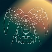 Magic Aries Vector Line Drawing