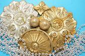 christmas decor of shiny ornaments