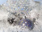 tinsel and a New Year's ball . Christmas still life