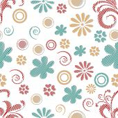 Retro seamless pattern with flowers and spirals.