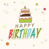 Happy Birthday celebration Invitation card design with delicious cake.