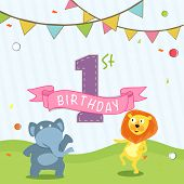 Kids 1st Birthday celebration Invitation card design with party flag and cartoon of animals.