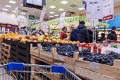 Interior Of The Supermarket Perekrestok.