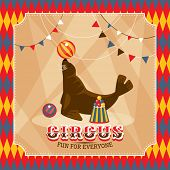 Vintage circus card with eared seal vector illustration