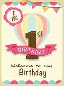 Kids 1st Birthday celebration Invitation card design with 8 December date.