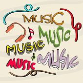 Stylish retro multicolor text of Music with headphone and musical notes.