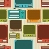 Seamless pattern with retro radio and television.