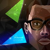 illustration with an african american man face in polygonal style. modern poster or flyer with fashi