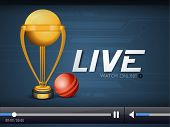 Live cricket telecast video player window with trophy and ball for web.
