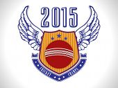 Winning shield with wings, cricket ball and 2015 text on shiny grey background.