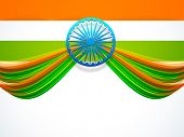picture of indian independence day  - Creative design of National Flag with 3D Ashoka Wheel on white background for Indian Republic Day and Independence Day celebrations - JPG