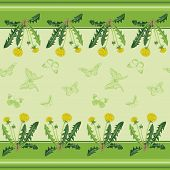 Yellow Dandelions And Green Butterflies.