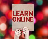 Learn Online card with colorful background with defocused lights