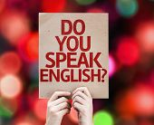 Do You Speak English? card with colorful background with defocused lights