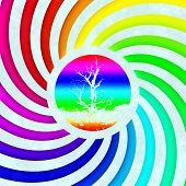 Rainbow Swirl Tree Symbol Generated Texture