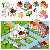 Town hall and the environment. flat isometric vector