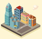 Isometric building area. vector illustration