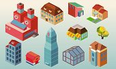Isometric building office set. vector illustration