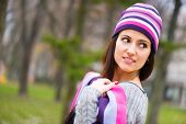 Beautiful Young Girl In Striped Hat