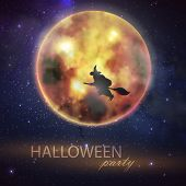 Halloween vector illustration with full moon and witch on the night sky background. party flyer desi