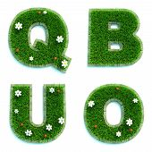 Letters Q, B, U, O as Lawn - Set of 3d.