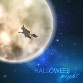 Halloween vector illustration with full moon and witch on the night sky background