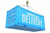Special Delivery - Blue Hanging Cargo Container.