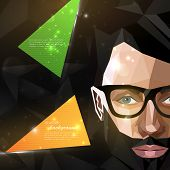illustration with man face in polygonal style. modern poster with fashion, beauty or entertainment c