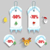 Colorful winter Christmas sale stickers and tags with discounts
