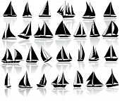 A set of vector silhouettes of yachts