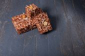 Gift Boxes On Dark Wood Background