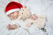Baby In Christmas Hat Asleep Hugging Favorite Toy