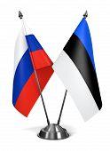 Russia and Estonia  - Miniature Flags.