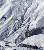 Speed Flying In Mountains At Sun Day