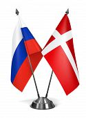 Russia and Denmark  - Miniature Flags.