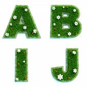 Letters A, B, I, J as Lawn - Set of 3d.