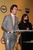 LOS ANGELES - DEC 10:  Ansel Elgort, Eva Longoria at the 21st Annual Screen Actors Guild Awards Nominations Announcement at the Pacific Design Center on December 10, 2014 in West Hollywood, CA