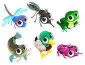 Funny animals of pond. Cartoon vector isolated characters.