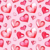 Vector watercolor Valentine's day seamless pattern with hearts