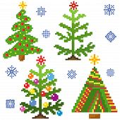 Set Of Christmas Trees With Mosaic Structure