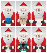 Digitally generated Cute santa claus doing different things vector