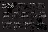 Calendário de 2011 do preto do estilo grunge
