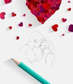 Digitally generated Sketch of kissing couple with pencil