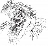 Alien Parasite Monster Sketch Vector Illustration Art