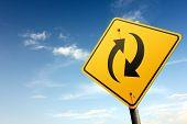 Synchronization Ahead. Yellow Traffic Sign.